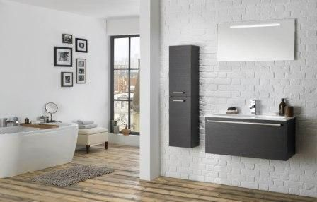This mereway furniture is great for a monochrome bathroom as shown in the image.