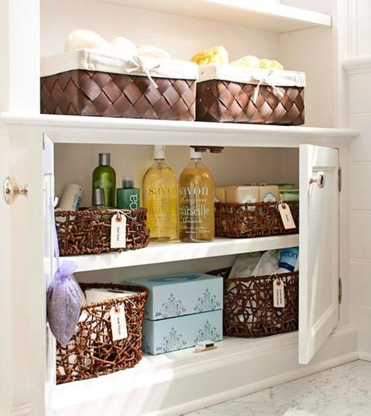 Bathroom Storage Tip: Add baskets on shelves, in cabinets and in corners to give you extra storage.