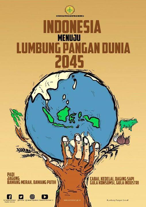 Indonesia Menuju Lumbung Pangan Dunia 2045  Jakarta - Pemerintah  memasang target Indonesia untuk menjadi lumbung pangan dunia pada tahun 2045. Menteri Pertanian Amran Sulaiman meyakini Indonesia memiliki potensi yang sangat besar untuk meningkatkan produksi pertanian. Dengan potensi tersebut, Indonesia tidak hanya mencukupi kebutuhan dalam negeri saja, tapi bisa menjadi negara pengekspor terbesar di dunia.   Untuk mencapai lumbung pangan dunia pada tahun 2045, pihaknya akan meningkatkan…