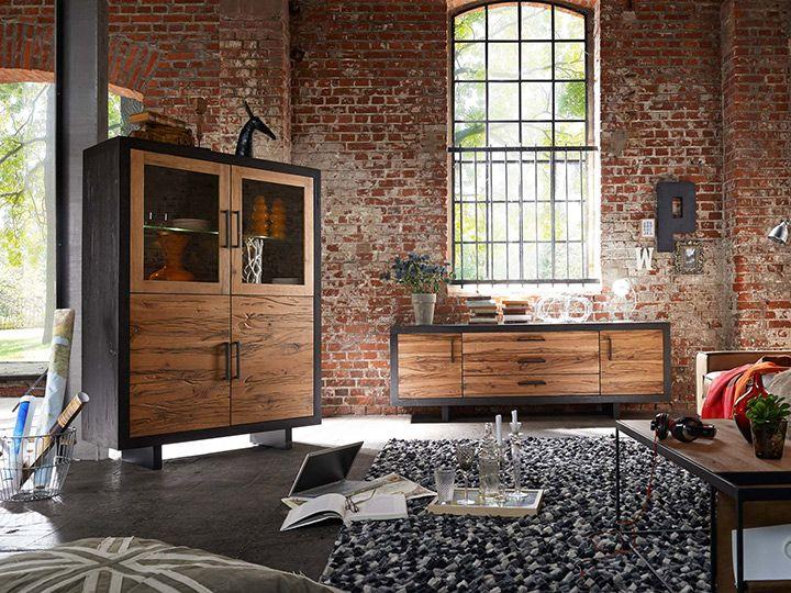 Die besten 25+ Highboard eiche Ideen auf Pinterest Highboard, Tv - moderner wohnzimmerschrank mit glastüren und led beleuchtung