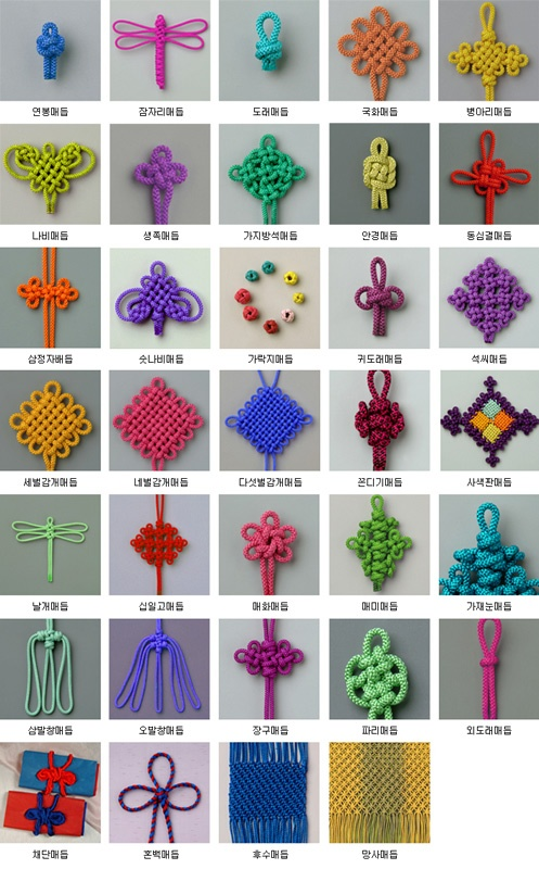 .Assortment of maedeup (knots) that are used on Norigae #KoreanDesign #KoreanTextiles.
