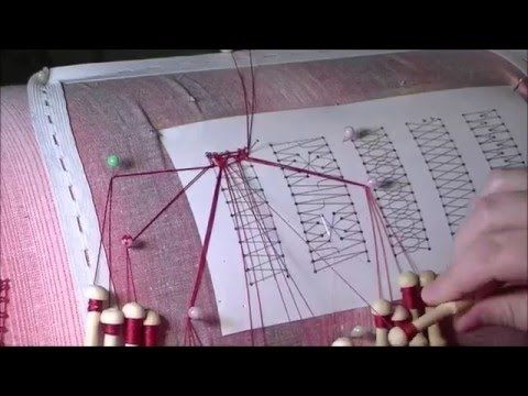 "Плетение плетенки без перевива пар / Russian freehand lace ""pletyonka"" (1) - YouTube"