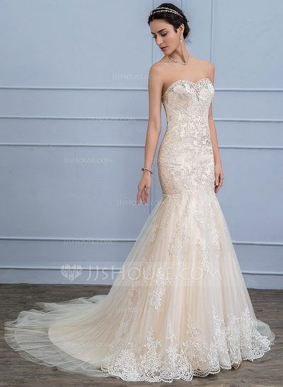 Trumpet/Mermaid Sweetheart Court Train Beading Sequins Zipper Up Covered Button Strapless Sleeveless Church General Plus No Winter Spring Summer Fall Other Colors Tulle Lace Wedding Dress