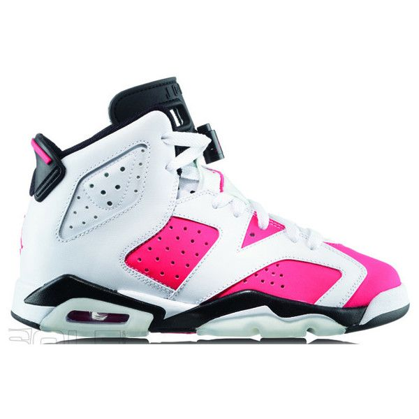 Air Jordan VI (6) Retro White Pink Black ❤ liked on Polyvore featuring shoes, sneakers, jordans, white trainers, retro sneakers, kohl shoes, black pink shoes and retro trainers
