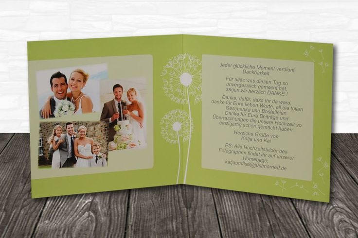 "Danksagungskarten - 15 Dankeskarten ""Pusteblume grün"" - ein Designerstück von xitroEVENT bei DaWanda"
