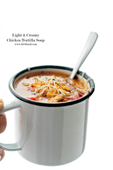 Light Creamy Chicken Tortilla Soup   www.diethood.com   This hearty Chicken Tortilla Soup is filled with shredded chicken, tomatoes, corn and creamy refried beans. All the creamy comfort without the cream!