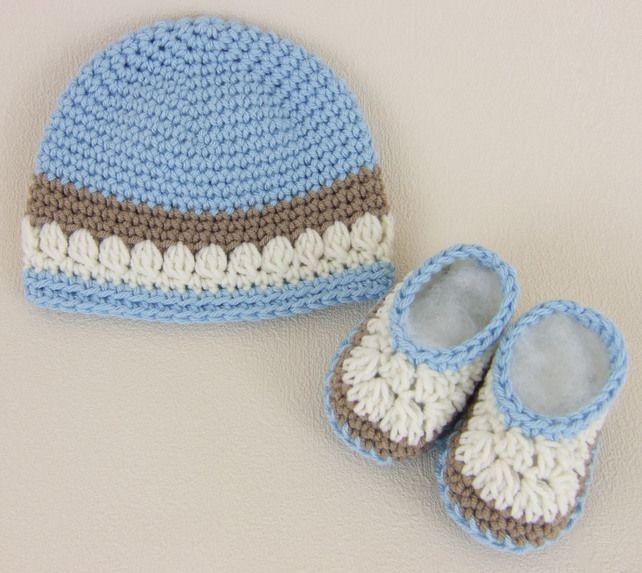 Crochet Baby Hat & Booties for Early Born Baby Boy  £15.00