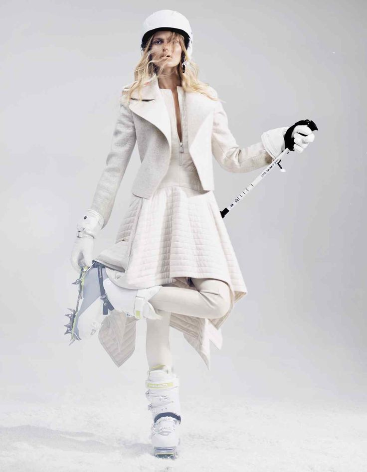 Akris yak wool jacket, £2,555, quilted silk dress, £1,930, and nappa leather leggings, price on request. Head Grace helmet, £85, and Vector Evo 110W ski boots, £330. Lacroix leather E-Glove heated gloves, £299, and LX Telescopic ski pole, £74 for a pair. Black Diamond Snaggletooth Pro crampons, £140