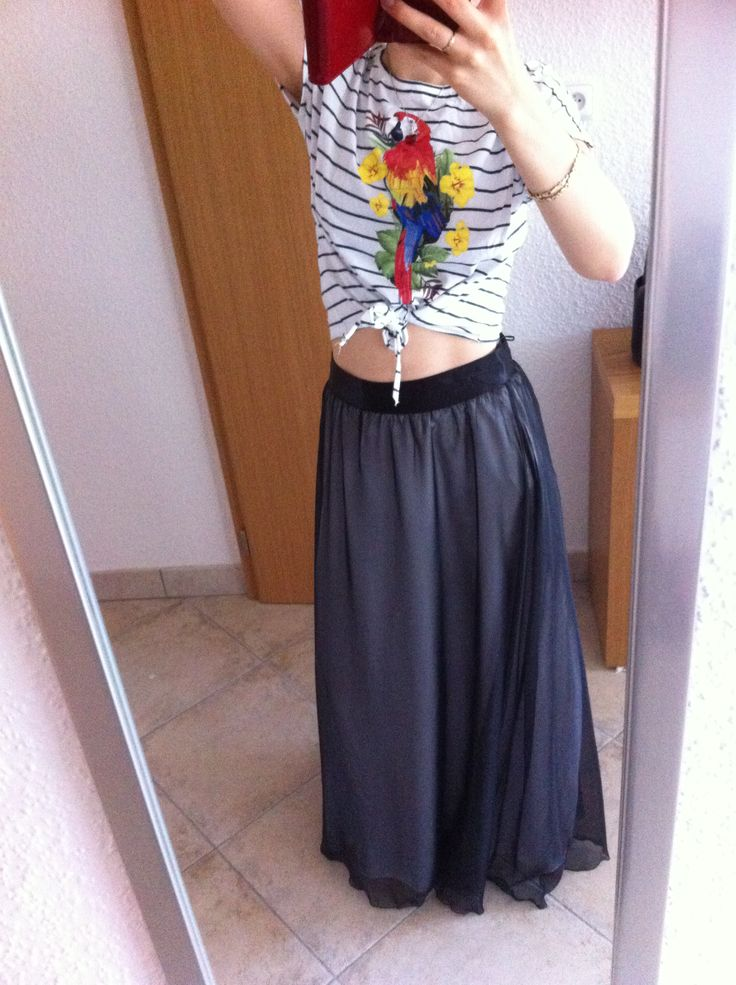 Crop parrot top, maxi skirt. Enjoy Yourself
