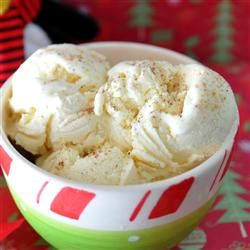 No-Cook Eggnog Ice Cream Allrecipes.com.  Made this with Oberweis Eggnog and my new KitchenAid Ice Cream maker,   Yumm!