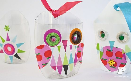 Cute little owl holders created from recycled shampoo bottles! So cute for kids.