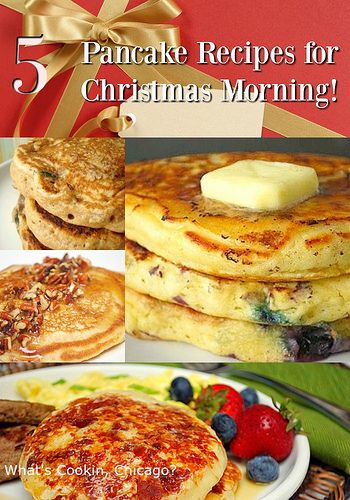 Nothing says holiday breakfast like a big stack of pancakes, and I've got 5 Pancake Recipes for Christmas Morning that'll be perfect! #breakfast #pancakes