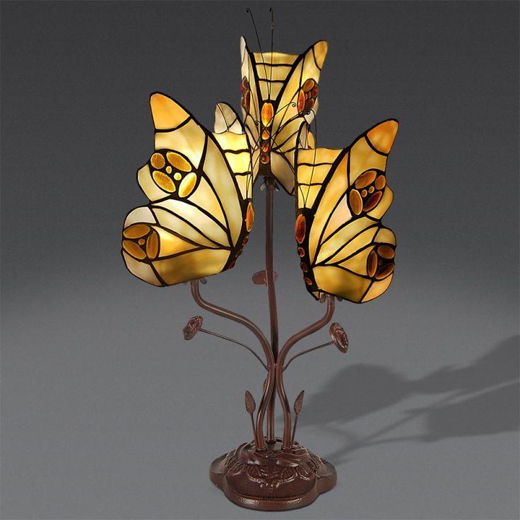 Lampada da Tavolo Tiffany con Farfalle Gialle