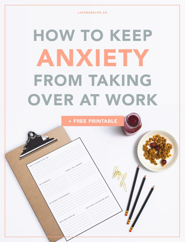 How to keep anxiety from taking over at work | How to manage anxiety at work | Anxiety at work | Mental health | Anxiety | Health | Free printable | Printables | Worksheets | Self Improvement | Self-Care