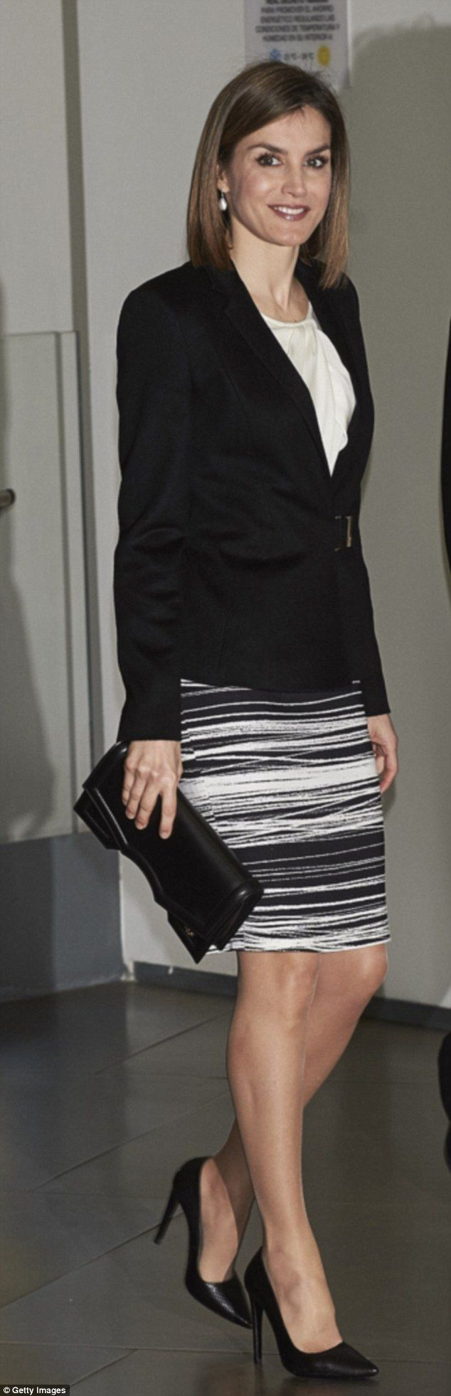 In February 2016 Letizia recycled the oufit for the fourth time while attending the Forum ...