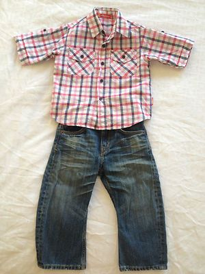 For Sale: Toddlers Clothing Set w/ Button Up Check Shirt & Jeans