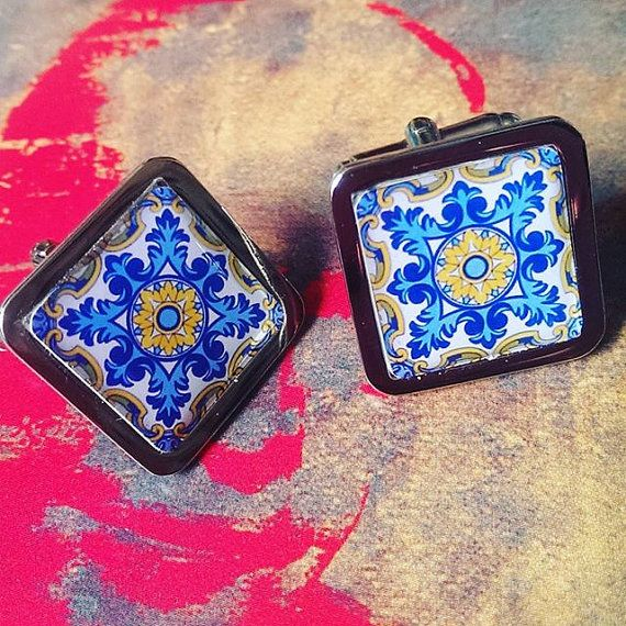 Stunning Blue and Yellow Floral Flourish Spanish Tile Chrome