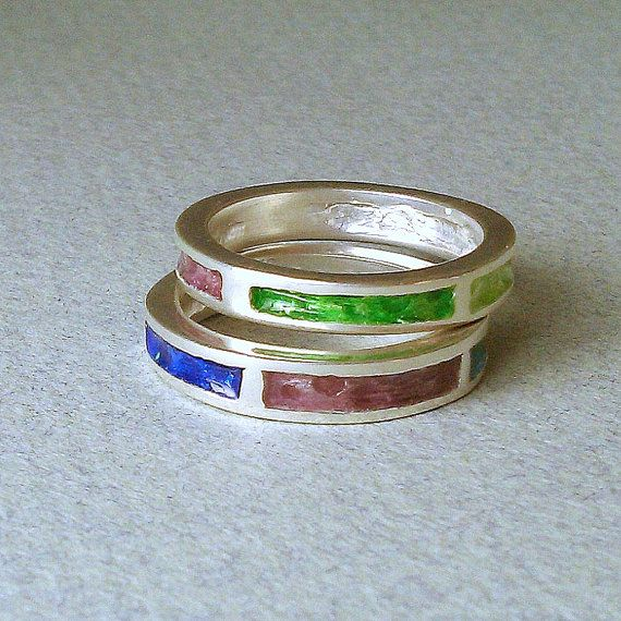 SILVER ENAMEL RING/sterling silver ring/silver stackable ring/silver enamel band ring/colorful ring/gift for woman/teen gift/mothers day