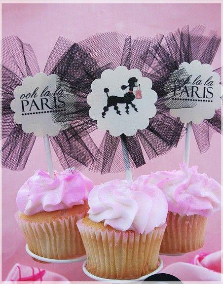 cupcake toppers de tul negro