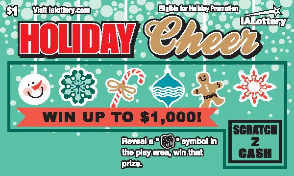 Holiday Cheer launched at Iowa Lottery retailers Oct. 31, 2016. The $1 game offers top prizes of $1,000! This game is eligible for the #JingleBills holiday Play It Again promotion.