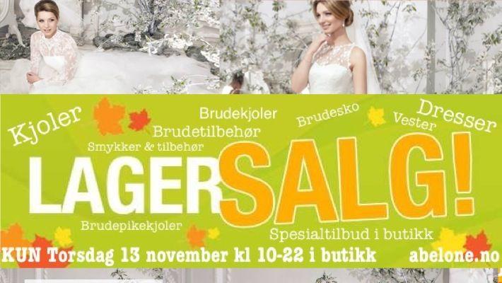 STORT LAGERSALG - ABELONE.NO Brudekjoler fra kr 500,-   KUN Torsdag 13 November kl 10-22  vi selger ut utgåtte varer og rydder på lageret. Spesialtilbud på dagen i butikken på Brudekjoler, kjoler, dresser, brudepikekjoler, brudesko, Tilbehør osv.osv. Noe ligger allerede ute i nettbutikken KUN som nettkjøp hos http://www.abelone.no/