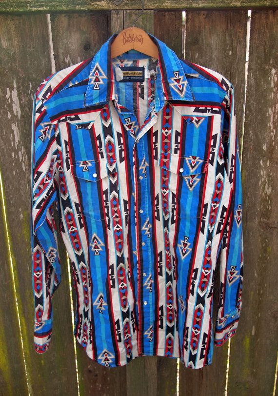 Vintage Pearl Snap Panhandle Slim Western Shirt / Southwestern / 90s / Medium / Rodeo