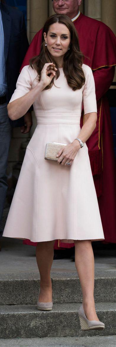 Kate Middleton: Dress – Lela Rose Purse – LK Bennett Earrings – Kiki McDonough Shoes