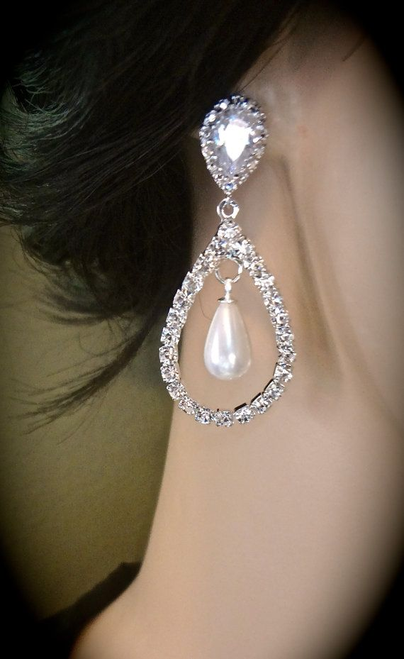 SALE - Bridal jewelry - Pearl earrings - White pearl drops - Teardrops - Sterling silver posts - Rhinestones - Lux - Wedding Jewelry -