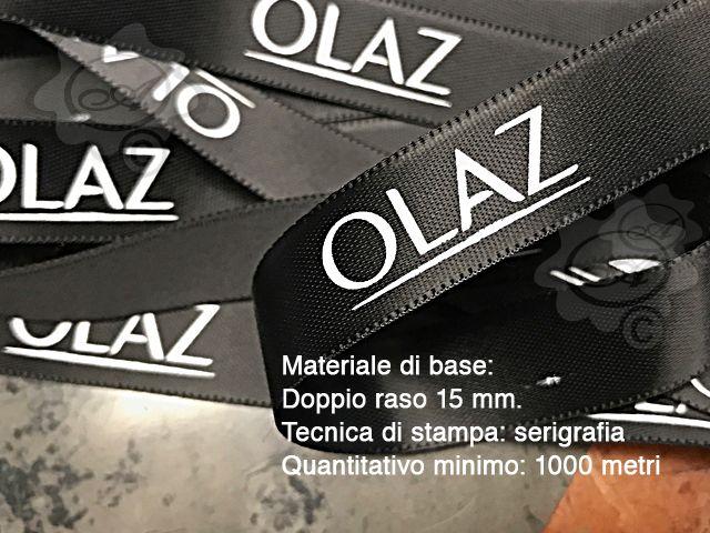 Nastro doppio raso personalizzato, stampa in serigrafia a rilievo
