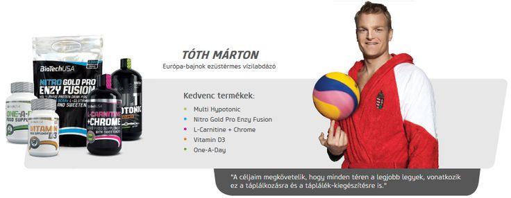 Tóth Márton vízilabdázó is Biotech USA termékeket használ.