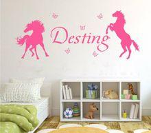 paarden en vlinders meisjes gepersonaliseerde elke naam vinyl kunst aan de muur sticker kinderen kwekerij sticker behang decor sticker(China (Mainland))