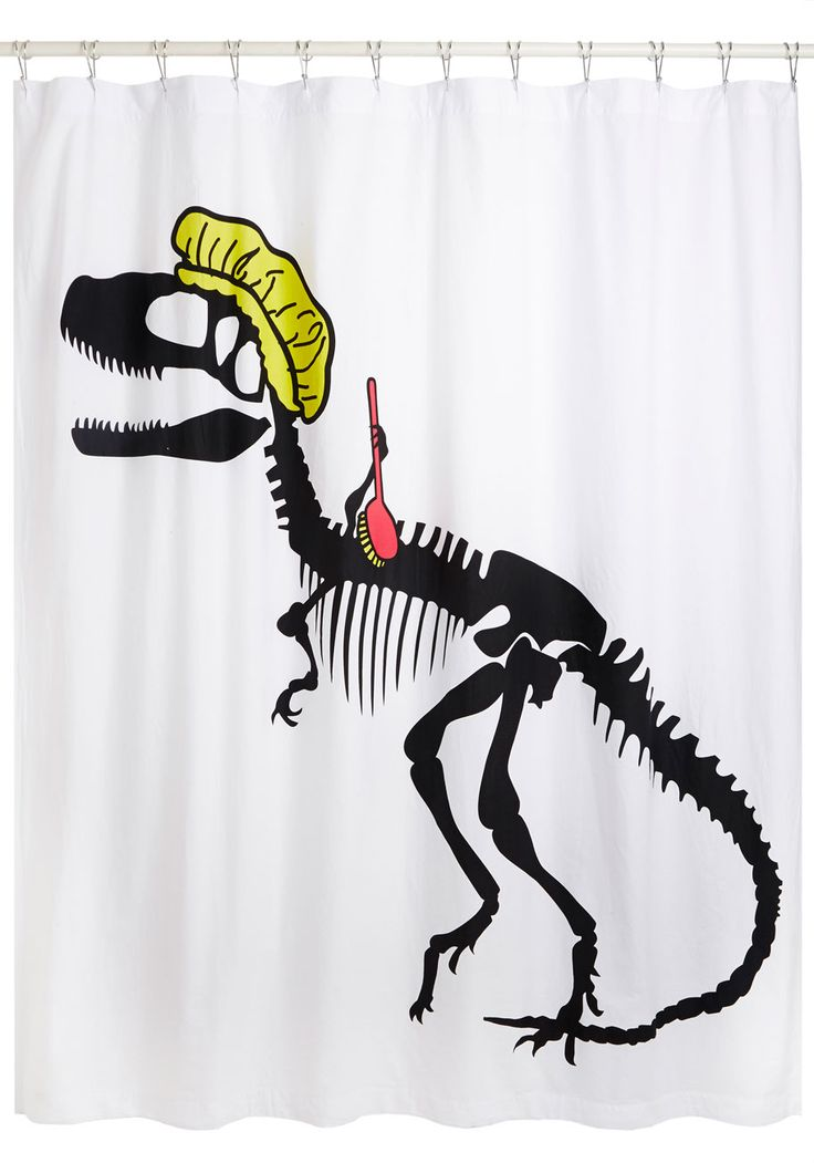 Clean of the Stone Age Shower Curtain. Okay, so maybe the only T-Rex equipped with a lime-green shower cap and bright-pink scrub brush is the one printed on this shower curtain, but thats what imaginations are for! #multi #modcloth