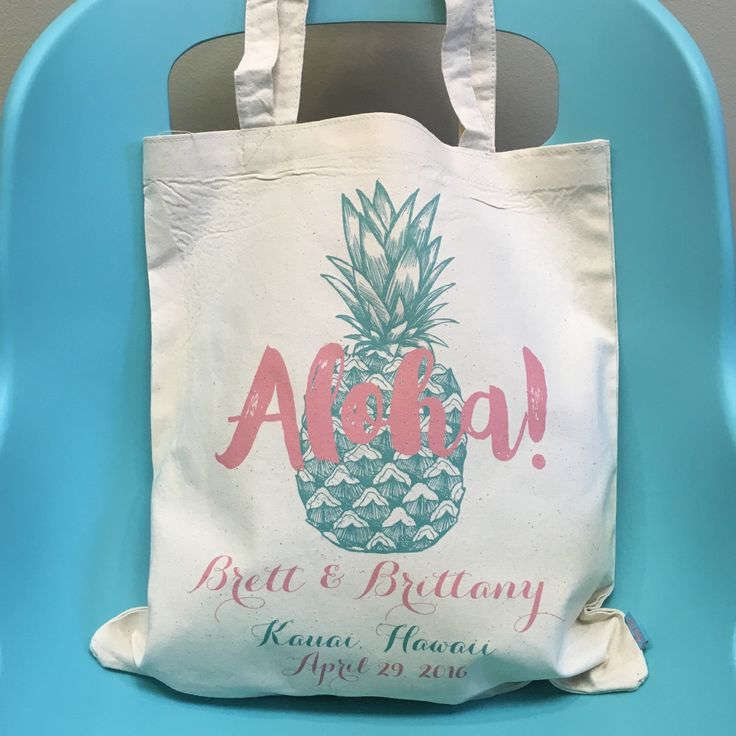 Hawaii wedding?! Then our adorable ALOHA pineapple totes are the perfect welcome gift for your wedding guests...they'll get tons of use out of during your fab beach wedding!