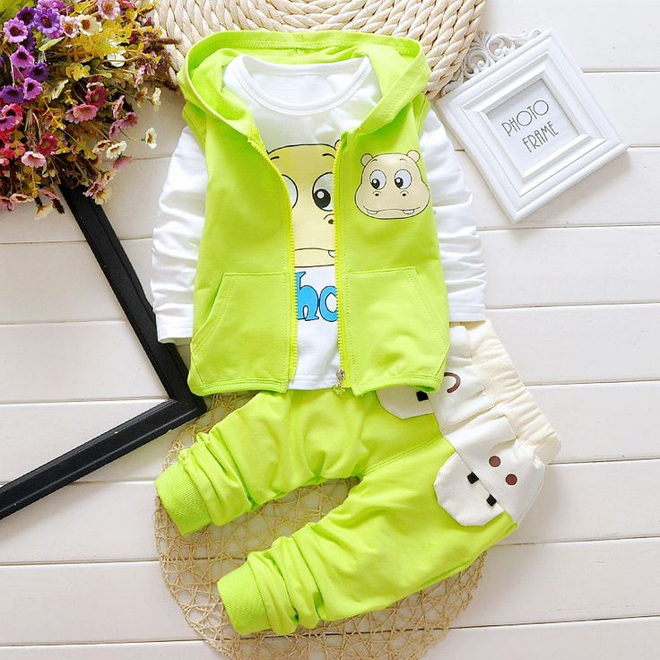New Spring Autumn Baby Girls Boys Minion Suits Infant/Newborn Clothes Sets Kids Vest+T Shirt+Pants 3 Pcs Sets Children Suits