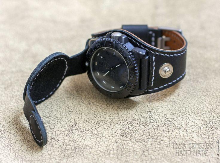 Купить Ремешок для часов из натуральной кожи - черный, ремешок для часов, ремешок из кожи, ремешок на часы