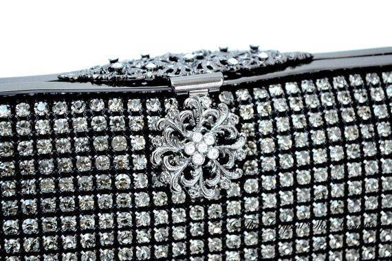 Swarovski Cristal diamant noir maille douce rectangle pochette