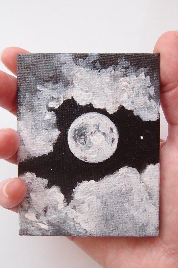 Miniatur-Acryl-Vollmond-Kunst, schwarz / weiß Nachthimmel Gemälde, Luna, Monoc