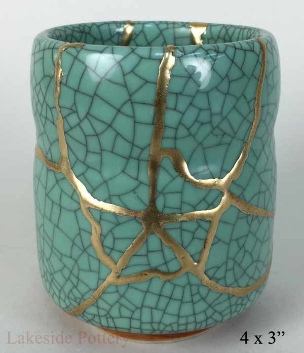 Taza japonesa kintsugi turquesa - Kintsugi compra regalo de la cerámica
