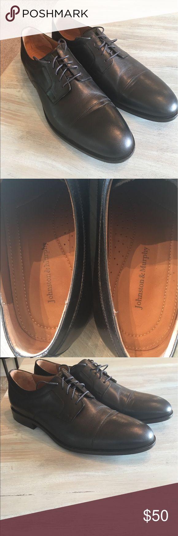 Johnston and Murphy black dress shoes Black Johnston and Murphy dress shoes. Barley worn. Men's US 14. Timeless style. Johnston & Murphy Shoes Oxfords & Derbys