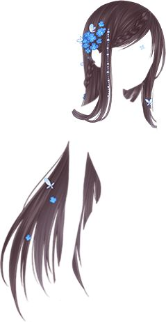 What do you see the body shape or the floating hair pieces?