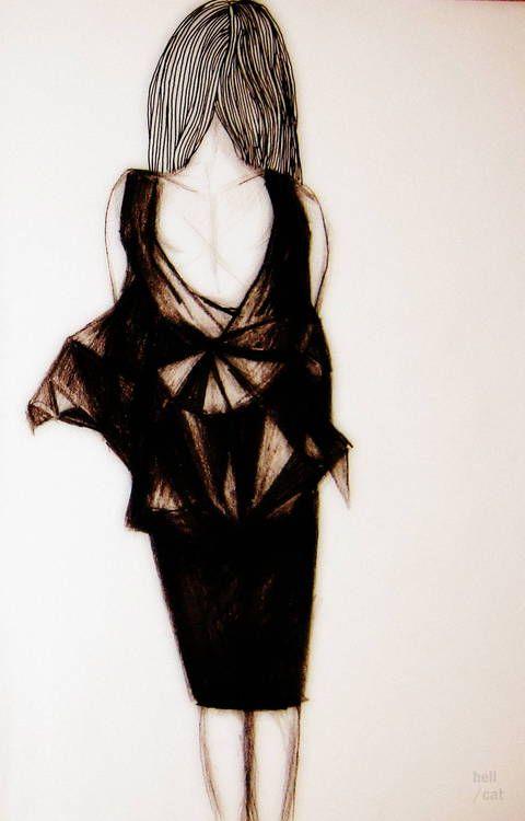 Fashion illustration. Little black dress (LBD) from : http://byhellcat.tumblr.com/