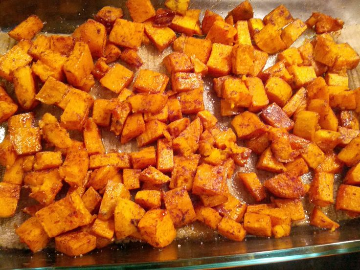 Roasted Spiced Sweet Potatoes. Just sweet potatoes, cinnamon, nutmeg, ginger, salt, and EVOO. Easy, healthy side dish!