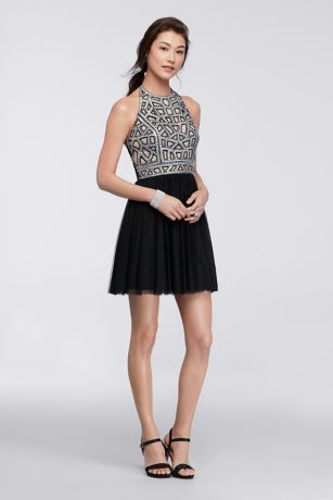We picked this amazing short dress for the fashion-forward gal who loves to make a statement. The geometric sequin bodice on this homecoming dress defines glam while the lightweight skirt balances the look.  By Blondie Nites  Polyester, spandex  Back zipper; fully lined  Professional spot clean  Imported