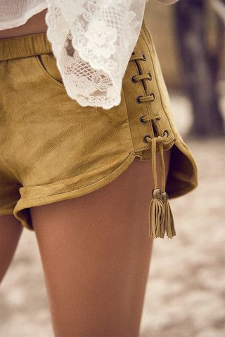 YES! i scored a pair of these...island Muse Lace Up Shorts – Honey Suede