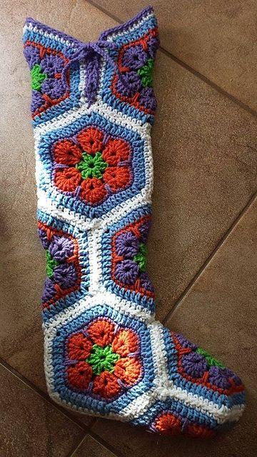 Crochet African Flower Hexagon Boots  #Crochet #Boots #Flower