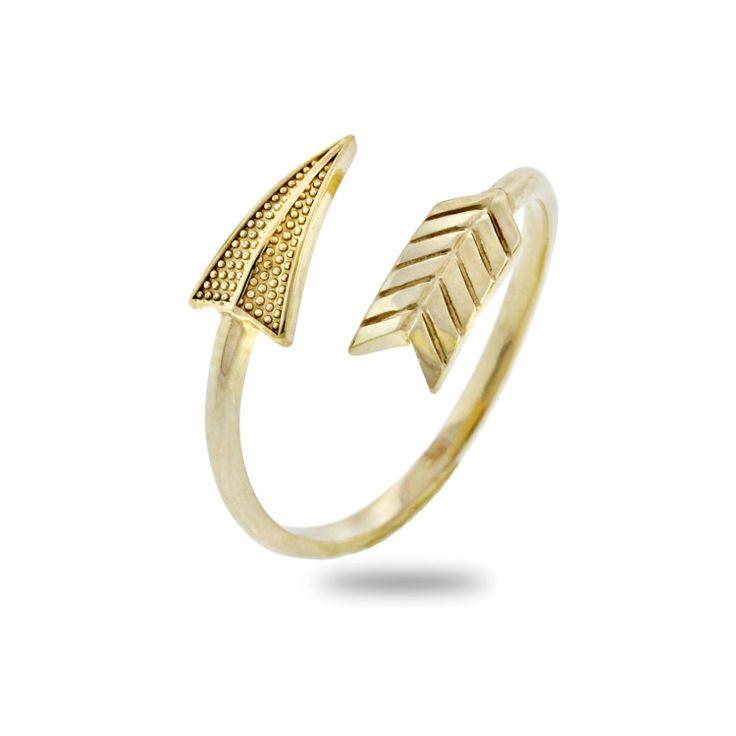 Arco e freccia anello 14 k oro semplice quotidiana di CharmAmerica, $145,00