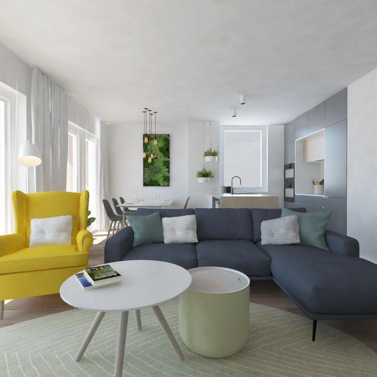 Obývačka oživená žltým kreslom