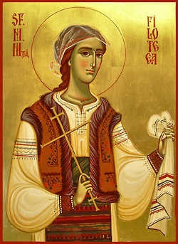 St. Philothea the Protectress of Romania (December 7) St. Philothea (Philofthea) of Argesh was born in Trnovo, the old capital of Bulgaria, around 1206. Her mother died when Philothea was still a child, and her father remarried. One of St. Philothea's tasks was to bring her father his food as he worked in the fields. Each day, she would give some of it to poor children. ...(http://www.antiochian.org/node/17089)