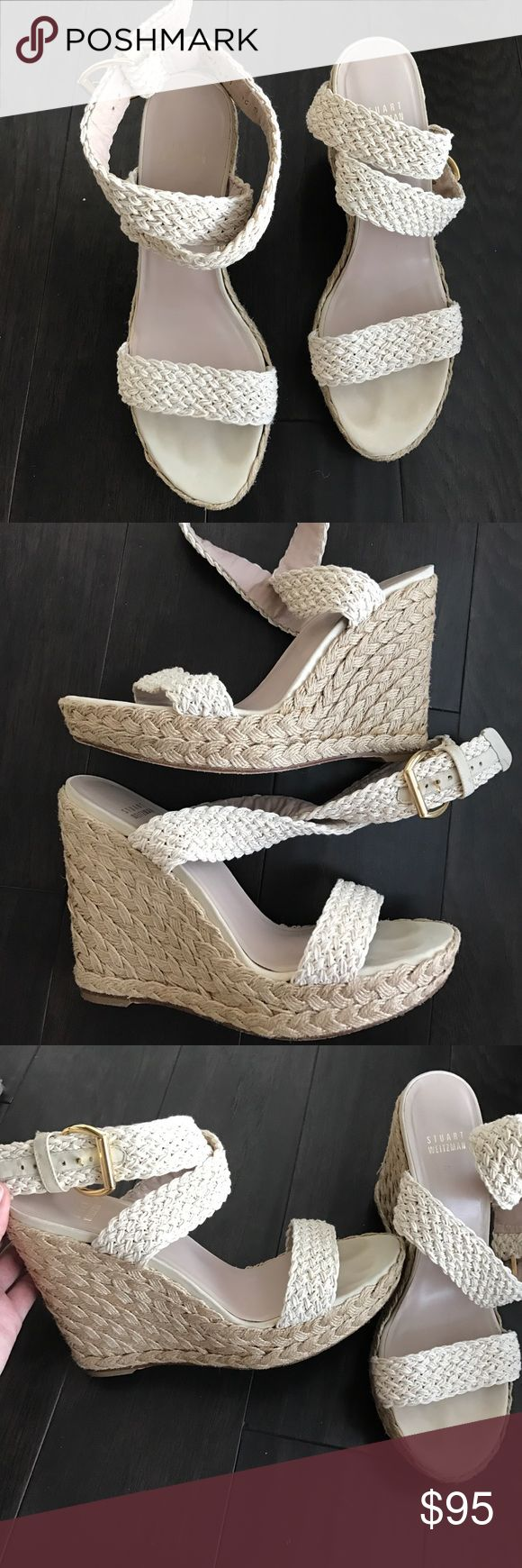Stuart Weitzman Wedges Great neutral wedges for spring and summer. Size 10 M. Very gently worn. These wrap up the ankle. The straps, sides, and soles are in great condition. Stuart Weitzman Shoes Wedges