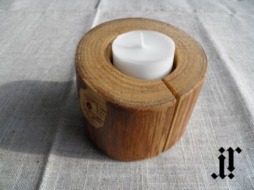 One tea light candle holder from wood